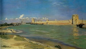 Frederic Bazille - The Western Ramparts at Aigues-Mortes 1867