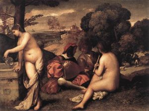 Koncert wiejski; Tycjan; 1576 rok;Luwr Paryż