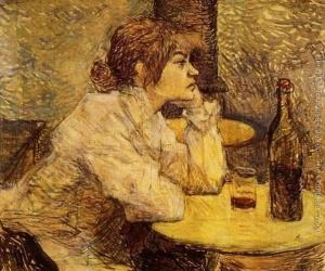 Susan Valadon na obrazie Henri Toulouse Lautrec'a - Pijąca