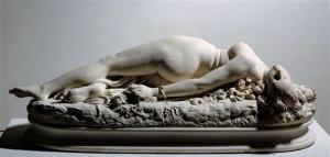"""Apollonie Sabatier jako """"Kobieta ugryziona przez węża"""" autorstwa Auguste Clésinger z 1847 roku, obecnie w Musée d'Orsay"""