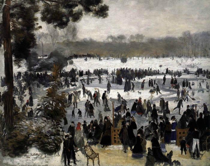 """""""Łyżwiarze w lasku bulońskim"""" 1868 rok Auguste Renoir"""