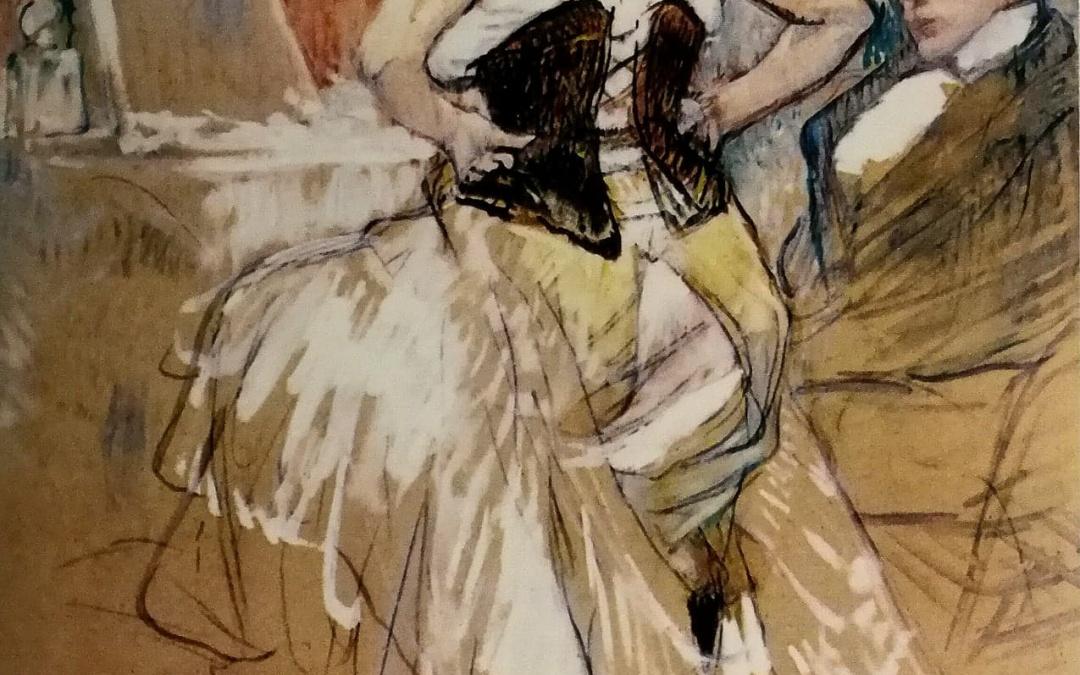 """Życie nocne wg Tolouse Lautrec'a – """"Kobieta zapinająca gorset"""" 1896"""