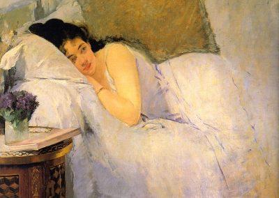 """Eva Gonzales """"Przebudzenie"""" 1876"""