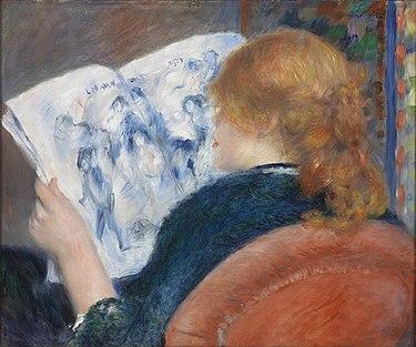 """""""Młoda kobieta czytająca gazetę"""" 1880 Auguste Renoir"""