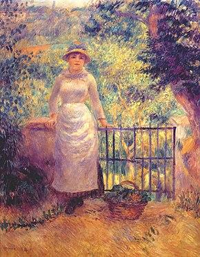 """""""Przy furtce w ogrodzie"""" Auguste Renoir 1884"""